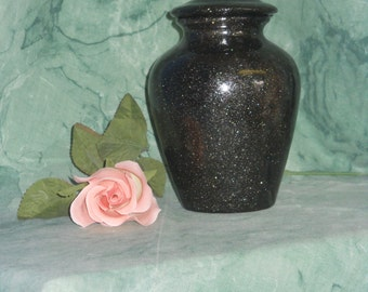 Black Jar with lid, Small Ceramic Ashes Urn,  art pottery, Handmade Cremation Urn. Small Dog Urn
