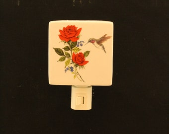 Hummingbird and Red Roses Memorial Nightlight, Porcelain Remembrance Night Light, Wall Plug in Light