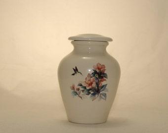 Hibiscus with Hummingbird Cremation Urn, Ceramic Jar with Lid, Tiny Urn, Baby Urn, Cat Urn. Keepsake Urn, Tiny jar, art pottery, handmade