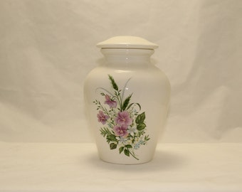 Ceramic Jar with Lid Purple Pansy Cremation Urn Medium Cremation Urn, Lidded Jar, art pottery, handmade