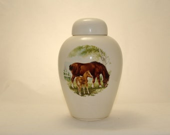 Horse  Urn Ceramic jar with lid,Adult Cremation Urn,urn, Jar with lid,large urn, large jar, art pottery, handmade