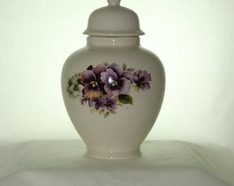 Purple Pansy Ceramic Jar with Lid, Baby or Infant Urn, Ashes Keepsake Urn, Tiny Pet Urn, Cat Urn, Small Dog Urn, Art Pottery, Handmade