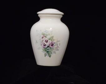 Pansy Ceramic Jar with Lid Adult Cremation Urn, Urn for Human Ashes, Memorial Funeral Urn, large urn, large jar, art pottery, handmade