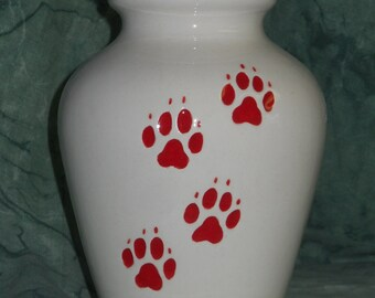 Dog Urn, Ceramic Jar with Lid,urn, White with Red paws Cremation Urn,Small urn, Small jar, art pottery, handmade