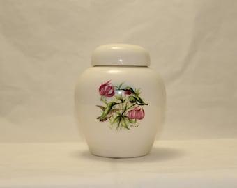Hummingbird and Lily Cremation Urn, Ceramic Jar with Lid, Urn for Ashes, Lidded Jar. Pet Urn, Keepsake Funeral Urn, Art Pottery, Handmade