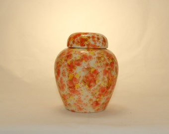 Orange Yellow & Tan Crystals on Small Cremation Urn, Ceramic jar with lid,urn, Urn for ashes, Pet Ashes Urn, art pottery, handmade