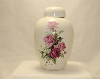 Adult Cremation Urn with Pink Roses, Urns for Human Ashes, Large Ceramic Jar with Lid, Large Ginger Jar, Urns, Art Pottery, Handmade Urn