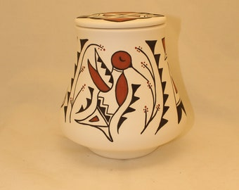 Native American Urn Ceramic Jar with lid, Hummingbird Adult Urn for Human Ashes, art pottery, handmade