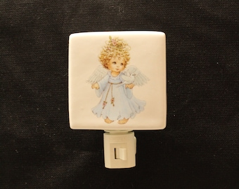 Angel with Dove Porcelain Night Light Memorial Gift,  Smpathy Gift, Remembrance Nightlight