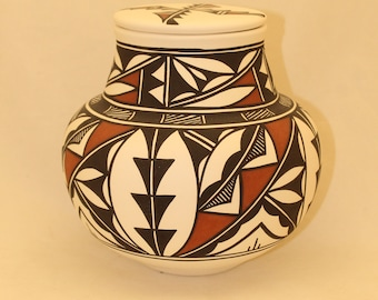 Native American Adult Cremation Urn, Human Ashes Urn, Large Jar with Lid, Hand Painted Art Pottery Memorial Urn