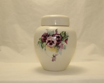 Pansy Cremation Urn, Ceramic Jar with Lid,urn, Large Urn for Human Ashes, large jar, art pottery, handmade funeral urn purple flowers
