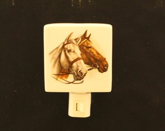 "A Brown and a White Horse on a 3 "" Square Porcelain Night Light, Wall Plug Rembrance Memorial Night Light"