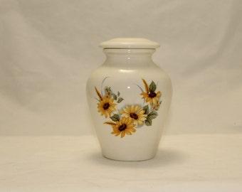 Sunflower Ceramic Jar with Lid Small Cremation. Urn Keepsake Urn, Baby Urn, Tiny jar, Cat Urn, Pet Urn, art pottery, Handmade Funeral Urn