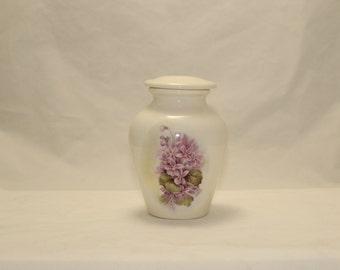 Violets on Ceramic Jar with Lid,Tiny Cremation Urn,Baby Urn,Keepsake Urn,Urn for Ashes, Cat Urn, Pet Urn Tiny jar, art pottery, Handmade Urn