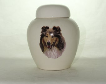 ROUGH COLLIE-SABLE  Cremation Urn, Ceramic Jar with Lid, Pet or Dog Small Urn for Ashes, Keepsake Urn, Art Pottery, handmade