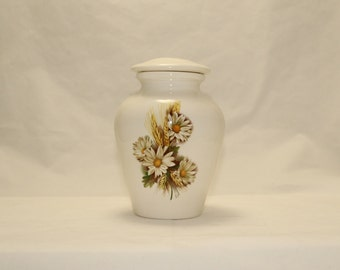 Ceramic Jar with Lid Daisy with Wheat Cremation Urn,  Baby Urn, Infant Urn, Ashes Urn, Small Keepsake or Pet Urn, Art Pottery, Handmade Urn