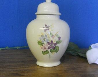 Ceramic jar with lid, Pink  and Purple Floral Cremation Urn, Keepsake Urn, Infaint Urn, art pottery, handmade