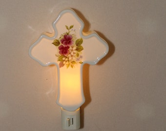 Cross Memorial Night Light with pansy flowers, Remembrance Light, Sympathy Gift, Porcelain Plug In Light