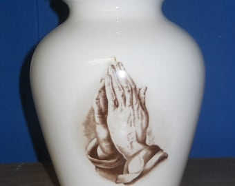 Praying hands Ceramic jar with lid, Jar with lid, Medium Cremation Urnfor Ashes,  art pottery, handmade
