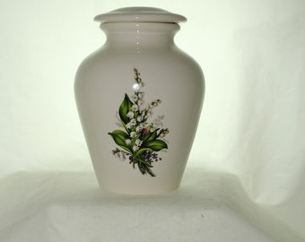 Lily of the Valley Cremation Urn, Jar with lid, Small Urn, Baby Urn, Infant Urn, Pet Urn,Kitten urn. art pottery, handmade