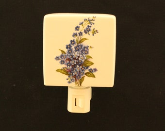 Forget Me Not Flowers Porcelain Night Light, Remembrance Memorial Night Light, Decorative Nightlight