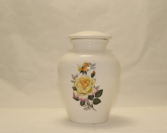 Yellow Peace Rose Ceramic Jar with Lid Small Cremation Urn, Keepsake Urn, Small Baby or Infant Urn, Small Pet Urn, Art Pottery, Handmade Urn