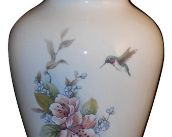 Hummingbird with Pink Flowers Ceramic Jar with Lid, Small Cremation Urn, Small Child Urn, Keepsake Urn, Pet Ashes Urn, Art Pottery, Handmade