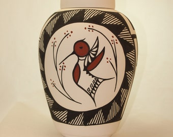 Native American Hummingbird Urn Ceramic Jar with Lid, Adult Cremation Urn for Human Ashes