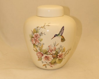 Hummingbird and Pink Flowers Adult Cremation Urn for Human Ashes, Extra Large Jar with Lid, Large Funeral Urn, Large Pet Urn, Handmade Urn