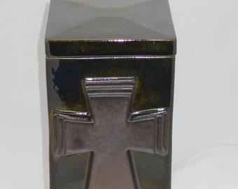 Metallic urn with Metallic cross cremation urn,Ceramic jar with lid,urn, Jar with lid,large urn, large jar, art pottery, handmade