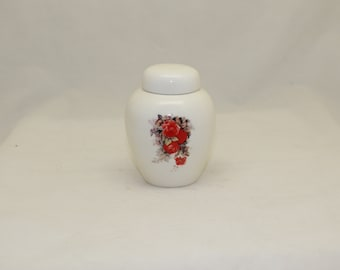 Tiny Cremation Urn with Red Roses,  Jar with lid, Baby or Infant Urn, Cat Urn Small Pet Urn, art pottery, handmade