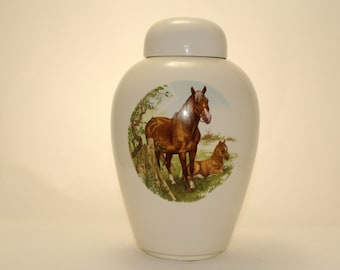 Horse Urn Ceramic Jar with Lid, Adult Cremation Urn, Urn for Human Ashes, large urn, large Ginger Jar, Funeral Urn, Art Pottery, Handmade