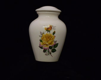 Yellow Peace Rose Ceramic Adult Cremation Urn,urn,Urn for Ashes, Jar with lid,Large Cremation Urn, urn, large jar, art pottery, handmade
