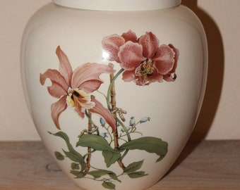 Pink Orchids on Adult Cremation Urn, Large Jar with Lid, Cremation Urn for Human Ashes, Large Pet Ashes, Art Pottery, Handmade Adult Urn