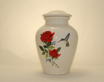 Red Roses with Forget Me Nots and Hummingbird Ceramic Jar with Lid, Large Cremation Urn, Funeral Urn, large jar, art pottery, handmade Urn