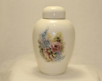 Pink Roses and Forget Me Nots Adult Urn, Ceramic Jar with Lid, Urn for Ashes, large urn, large jar, art pottery, handmade