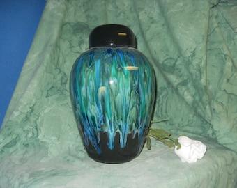 Cremation Urn, Adult Urn in Aqua Peacock colors, Ceramic Jar with Lid, Large Urn for Ashes, Large Jar, Art Pottery, Handmade Funeral Urn