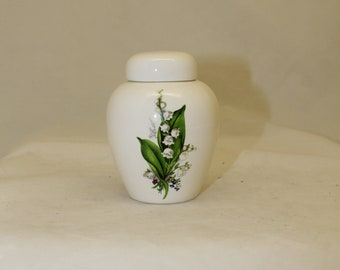 Lily of the Valley Tiny Cremation Urn, White Jar with Lid, Baby or Infant Urn, Cat Urn Small Pet Urn, art pottery, handmade