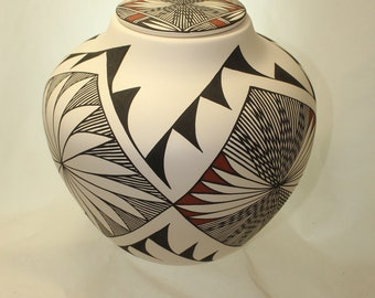 Adult Native American Hand Painted Cremation Urn, Large Ceramic Jar with Lid, Large Urn for Ashes, Extra large Urn, Art Pottery, Handmade
