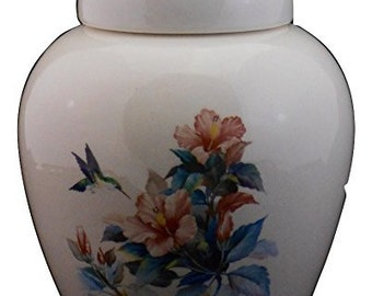 Hibiscus and Hummingbird Cremation Urn, Small Ceramic Jar with Lid for Ashes,  Keepsake or Sharing Urn, Art Pottery, handmade