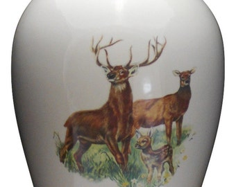 Adult Cremation Urn with Deer, Ceramic Jar with Lid, Large Urn for Ashes, Large Cremation Urn , Large Jar Art Pottery, Handmade Funeral Urn