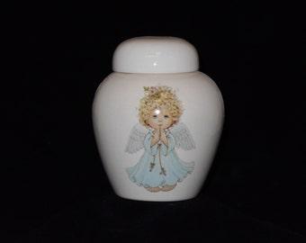 White Cremation Urn with Angel Ceramic Jar with Lid,Small Cremation Urn,Keesake Urn, Jar with lid,  jar, art pottery, handmade