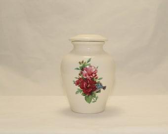 Hummingbird with Hibiscus Cremation Urn,Ceramic Jar with Lid,Tiny Pet Urn,Tiny Keepsake Urn, Tiny Jar,Cat Urn art pottery, Handmade