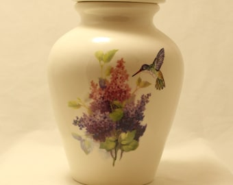 Purple and Pink Lilacs with Hummingbird Ceramic Jar with Lid, Large Cremation Urn, Funeral Urn, art pottery, handmade