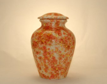Orange Crystals Ceramic Jar with Lid Cremation Urn, large urn, large jar, art pottery, handmade
