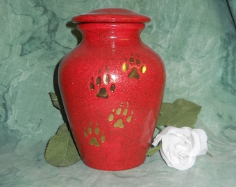 Small  Red Dog Cremation Urn, Ceramic jar with lid,urn, Jar with lid,Small urn, Small jar, art pottery, handmade