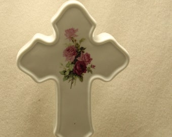 Cross Memorial Night Light, Pink Roses on Porcelain Light, Memorial Remembrance Gift, Ambiance Lighting, Sympathy Gift