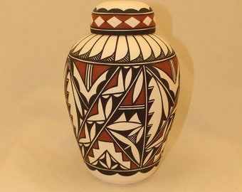 Native American Adult Cremation Urn, Large Jar with Lid done in Terra Cotta and Black on white clay, Art Pottery, handmade