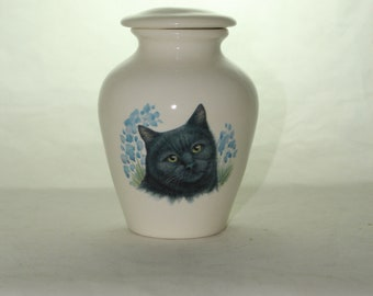 Black Cat on Ceramic Jar with Lid, Small Cremation Urn, Keepsake Urn, Baby or Infant Urn. Handmade small Pet Urn