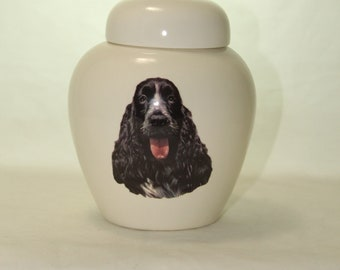 Springer Spaniel Cremation Urn, Ceramic Jar with Lid, Pet Cat or Dog Small Urn for Ashes, Keepsake Urn, Art Pottery, handmade